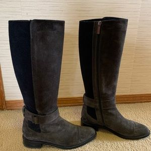 Aquatalia Gray suede and leather waterproof boots